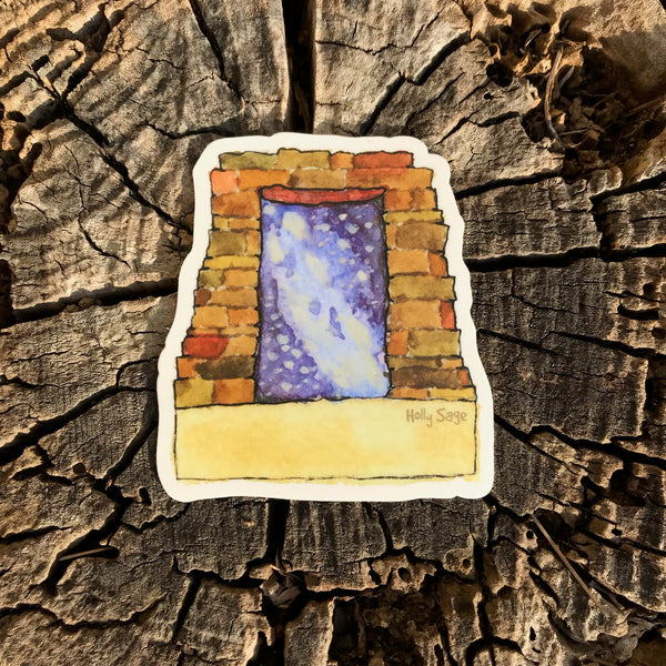 The Milky Way Galaxy inside a Pueblo doorway sticker