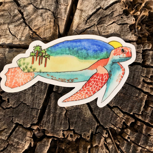 Ocean beach on sea turtle sticker