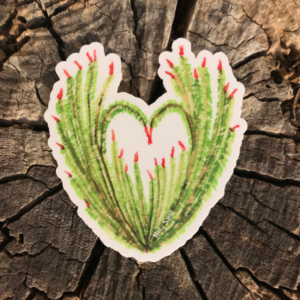An ocotillo plant sticker shaped like a heart