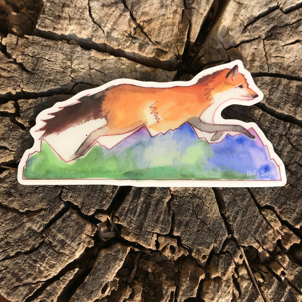 Mountains and red fox sticker