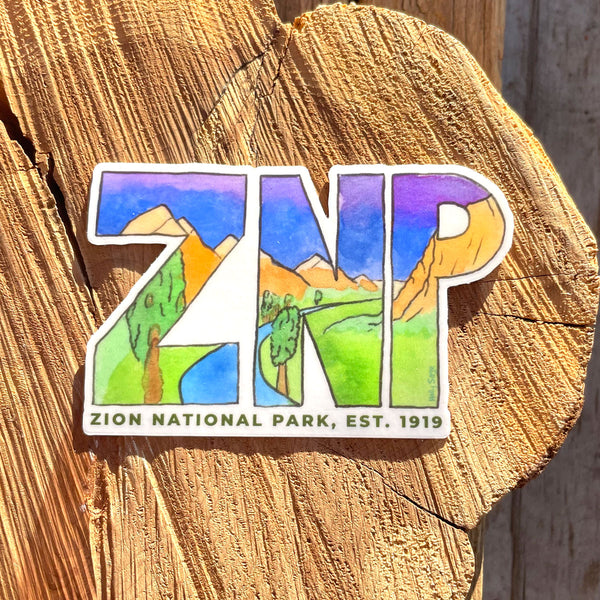 Zion National Park Abbreviation Sticker