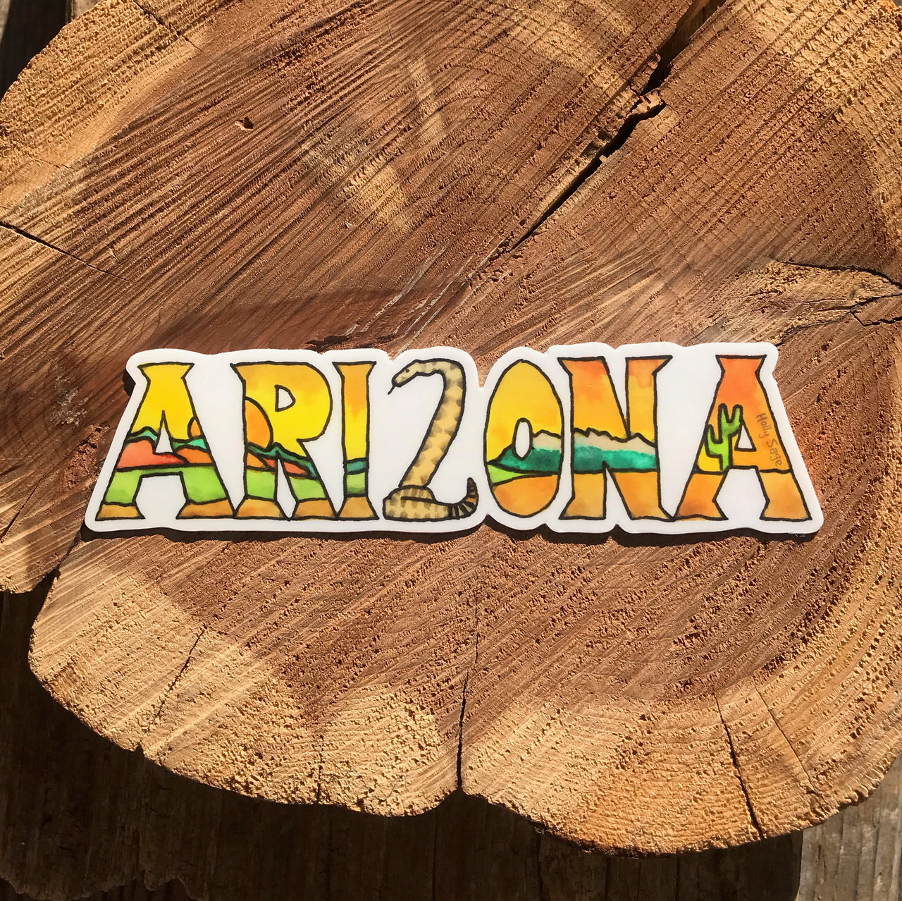 Arizona landscape in letters sticker with rattlesnake
