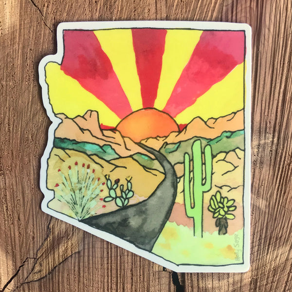 Arizona state outline sticker honoring road tripping through the desert