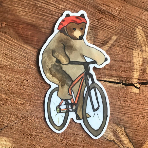 Bear on a mountain bike sticker