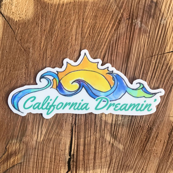 California Dreamin' sticker of crashing ocean waves and shining sun