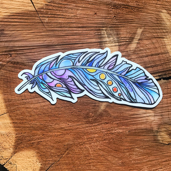 Colorful abstract feather sticker
