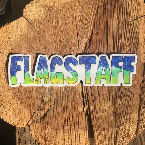 San Francisco Peaks in Flagstaff letters sticker