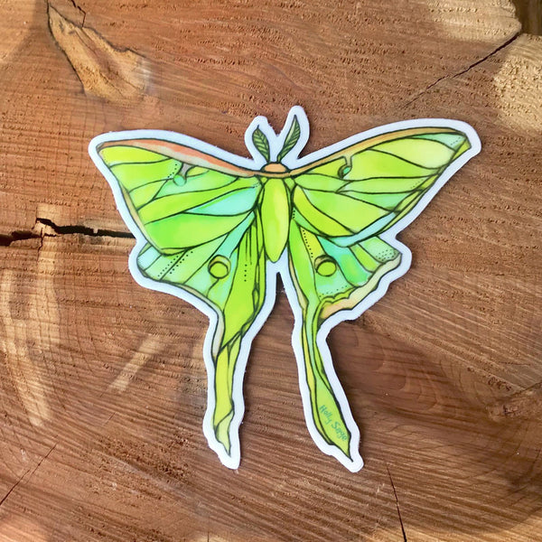 Beautifully painted luna moth sticker