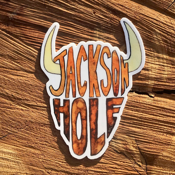 Bison head outline spelling Jackson Hole sticker