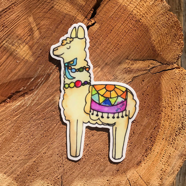 Colorfully dressed llama sticker