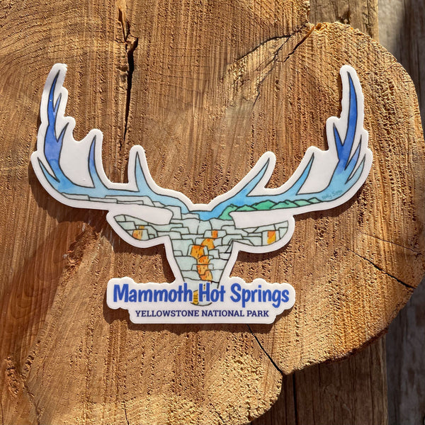 Mammoth Hot Springs Elk Head Sticker