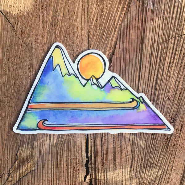 Mountains and skis sticker