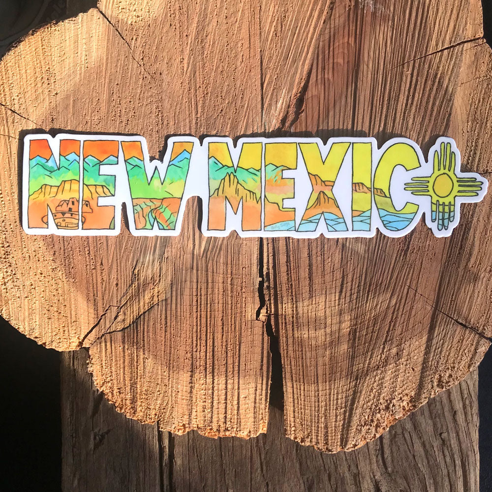 New Mexico landscape inside the text sticker