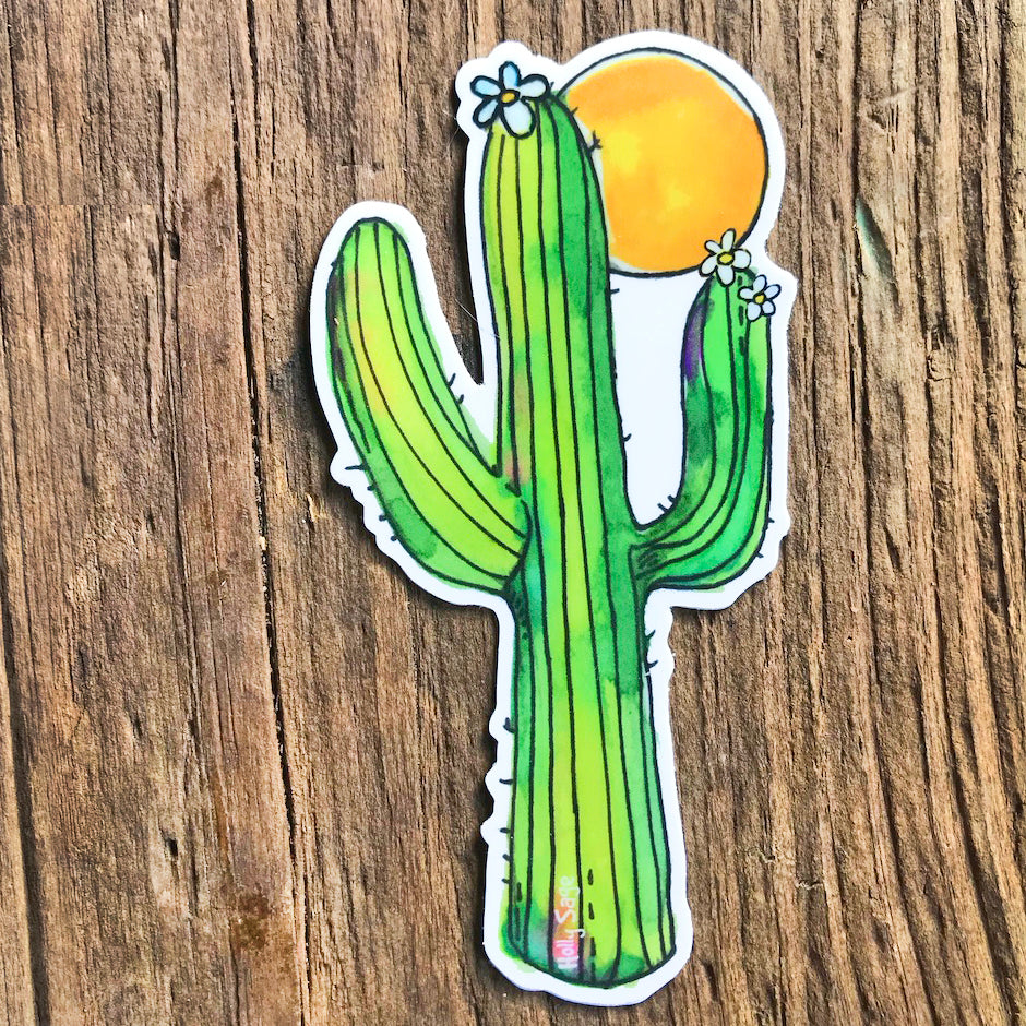 Moon behind saguaro cactus sticker