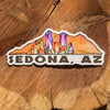 Sedona sticker with crystals and red mountains