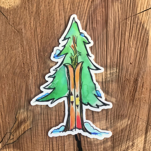 Trees and skis sticker where the skis are the trunk of the tree