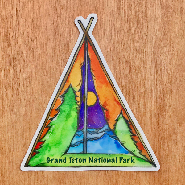 Classic tent sticker with landscape painted inside