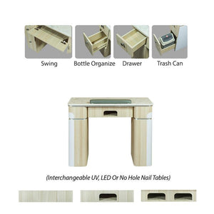 Belgian Linen Manicure Table - Salon Ventilation Pipes