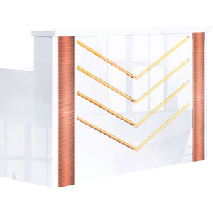 White Chevron Reception Desk with Rose Gold