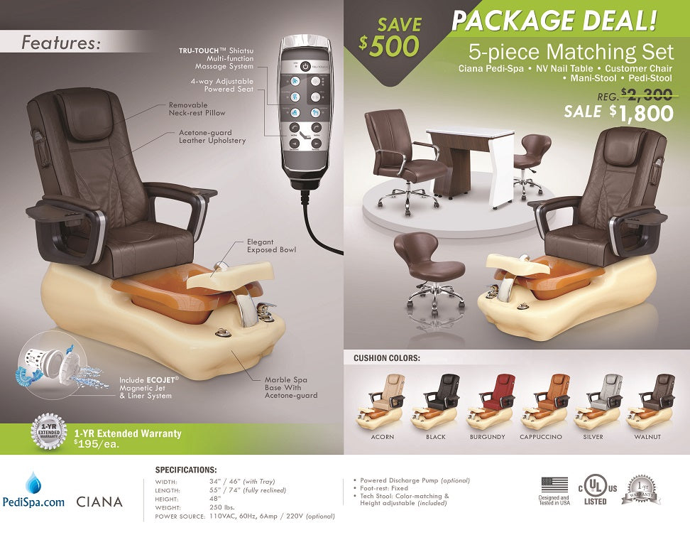 Ciana Pedicure Spa Chair Package