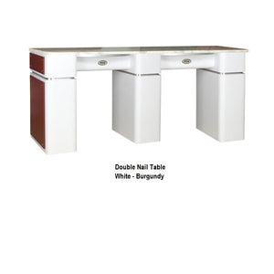 White Double Manicure Table for Salons