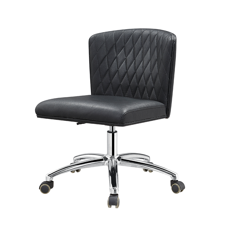 Black Nail Salon Technician Chair with Back