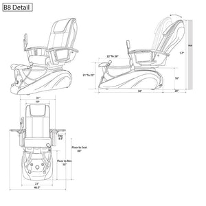 B8 Pedicure Spa Chair Specifications