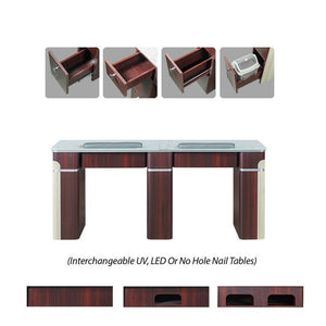 "Izzy Double Manicure Table - 69"" - Optional Gel Light Holes"