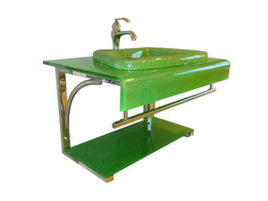 Glass Vanity & Sink - Jade