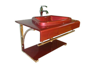 Glass Vanity & Sink - Red