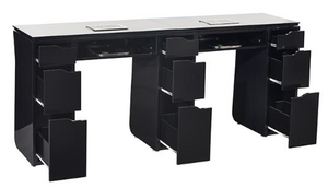 Vicki Double Manicure Table - Piano Black or Gloss White