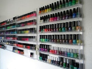 Clear Nail Polish Wall Rack - 120 Bottles
