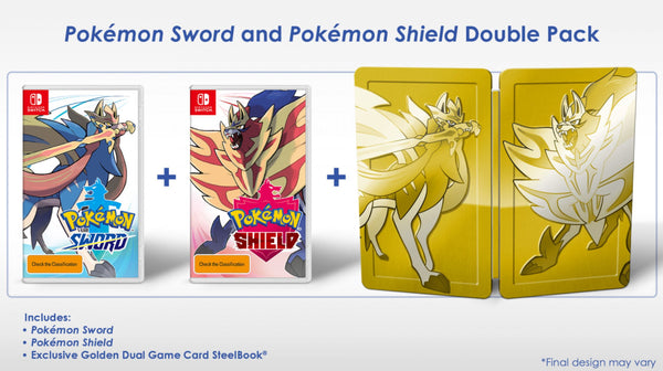 Nintendo Switch - Pokemon Sword & Pokemon Shield Dual Pack - Golden Steelbook