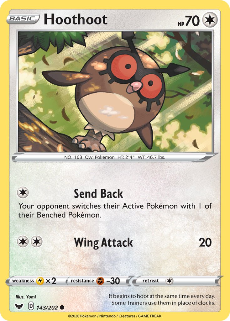 143 / 202 Hoothoot - Common Reverse Holo