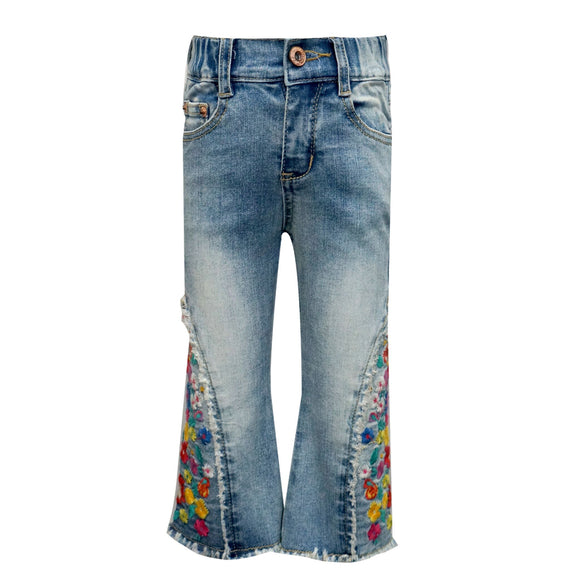 Bell Bottom Stone Wash Jeans with Embroidered Side Detail