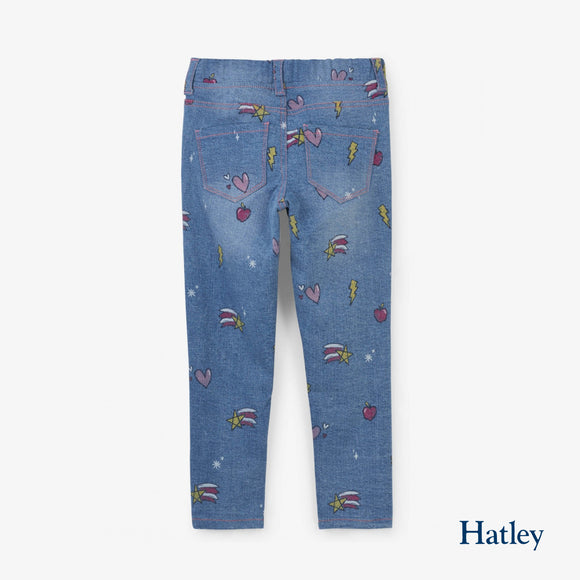 Girly Doodles Stretch Denim Pant