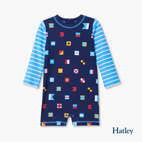 Nautical Flags Baby Rashguard One-Piece