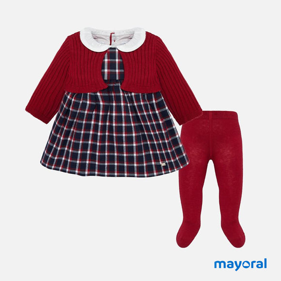 Plaid Cherry Dress with Sweater