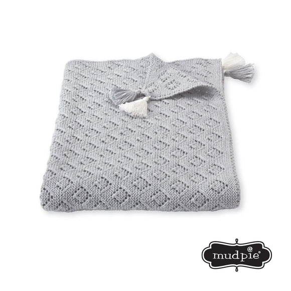Gray Tassel Blanket