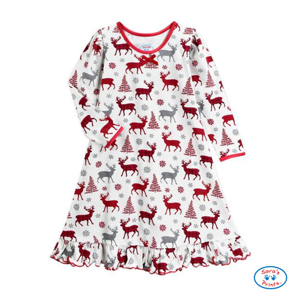 Reindeer Whirl-and-Twirl Long-Sleeve Nightgown