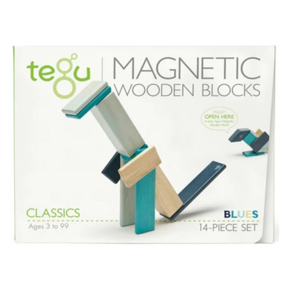 Tegu Magnetic Wooden Block Set - Blues 14-Piece