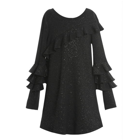 Black Long Sleeve Ruffle Shift Dress