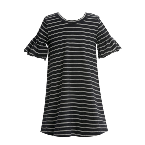 Black Smocked Sleeve Stripe Dress