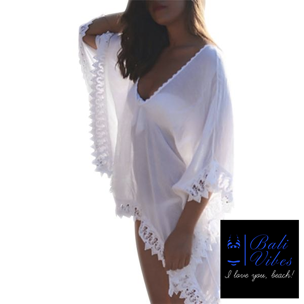 Bali Vibes White Chiffon Kaftan Beach Dress