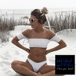 Bali Vibes Striped Off Shoulder Bikini