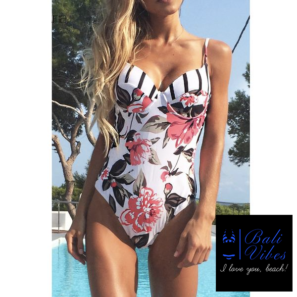 Floral One Piece Push Up Bikini