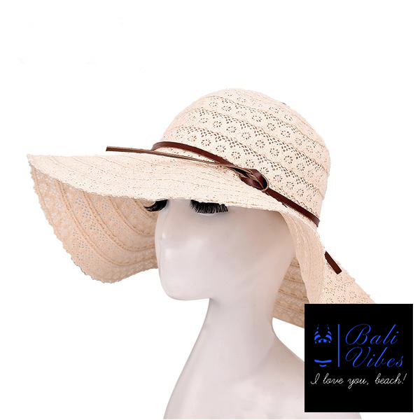 Bali Vibes Lace Cotton soft Big Brimmed Straw Hat