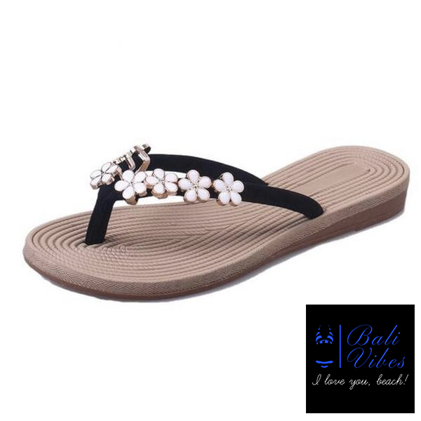 Bali Vibes Floral Metal Beach Sandals Size 35-41