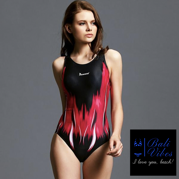 Bali Vibes Red Racerback Sports Swimsuit
