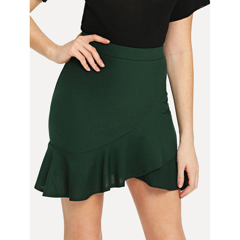 Ruffle Wrap | Hem Bodycon Skirt | Forest Green
